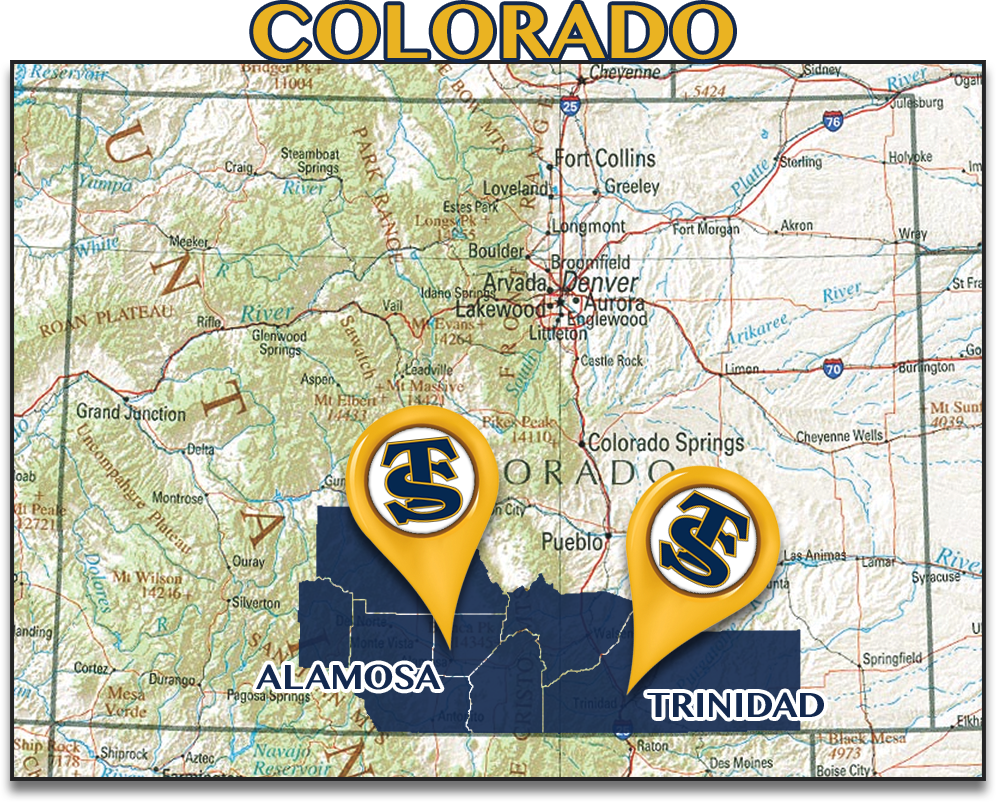 Colorado map, campus locations